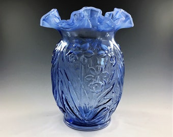 Fenton Art Glass Daffodil Vase - Opalescent Blue - Vintage Ruffled Vase