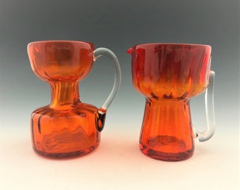 Set of 2 Pilgrim Glass Mini Pitchers - Amberina Glass Creamers - Orange Art Glass Pitchers