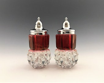 Indiana Glass Diamond Point Salt and Pepper Shakers - Red Stain