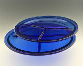 Set of 2 Cobalt Blue Grill Plates - Vintage Blue Divided Plates - 10 1/2 Inch Plates