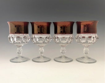 U.S. Glass Ruby Stained Wine Glasses - King's Crown Glasses