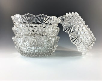 Set of 4 Beautiful EAPG Berry Bowls - Doyle and Company - No. 150 (OMN) - AKA Hobnail Fan Edge - Circa 1880 - Early American Pattern Glass