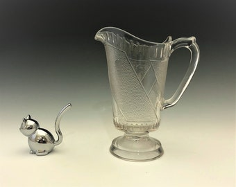 EAPG Creamer - Ripley and Company - Eureka Pattern - AKA Clear Diagonal Band - Early American Pattern Glass - c. 1879