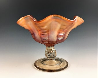 Dugan Carnival Glass Compote - Coin Spot Pattern - Iridescent Classic Carnival Glass - Antique Glass Comport