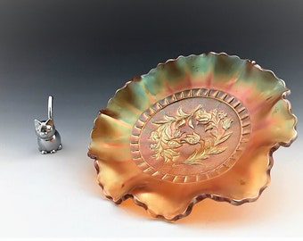 Dugan Glass Carnival Bowl - Windflower Pattern - Ruffled Bowl - Crimped Iridescent Bowl