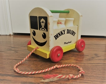 Vintage Playskool  Wooden Pull Toy - Dinky Dairy - Toy Dairy Wagon With Wooden Milk Bottles