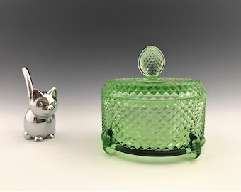 New Martinsville Vanity Jar - Covered Puff Jar - Judy Pattern - Green Depression Era Elegant Glass