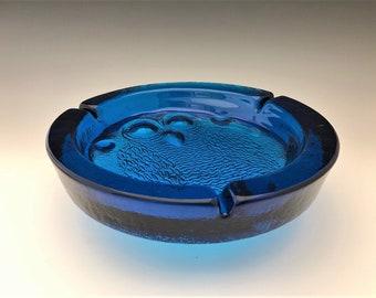 Blenko Big Hoot Owl Ashtray - Vintage Cobalt Blue Ashtray