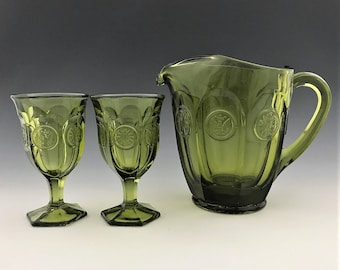 Fostoria Coin Glass Green 32 Ounce Pitcher and Two Glasses - Wine Goblets