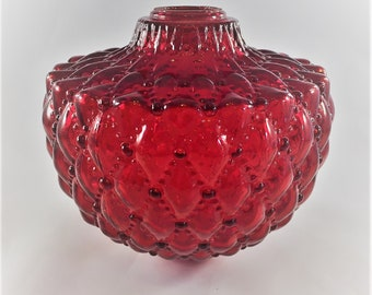 Vintage Glass Lamp Body - Red Lamp Piece - Retro Ruby Lamp - Lamp Font - Diamond Quilt Pattern