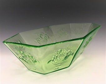 Scarce Uranium Glass Console Bowl - Floradora Pattern - Graham & Zenger, Importers - c. 1929 - Octagonal Glowing Glass Bowl