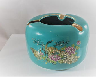 Vintage Japanese Turquoise Peacock Motif Ashtray With Exquisite Gold Trim