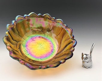 Indiana Glass Wild Rose Serving Bowl - Iridescent Carnival Glass Fruit Bowl