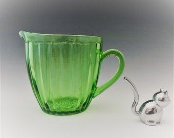 Uranium Glass Pitcher - Jeannette Glass - Sunflower Pattern - Hard to Find - Green Depression Glass - Glowing Glass - c. 1930's