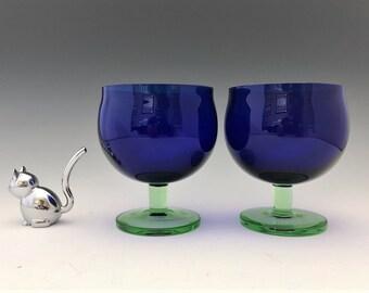 Stunning Cobalt and Green Glasses - Set of Two Scandinavian Glasses - Sleek European Stemware