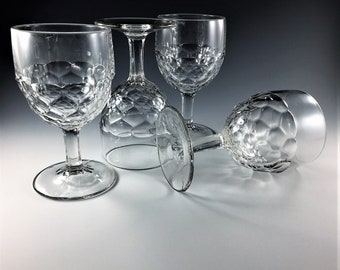 Set of 4 EAPG Goblets - Honeycomb Pattern - Early American Pattern Glass - Circa 1880s