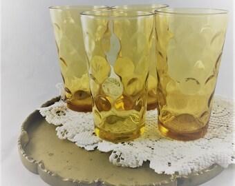 Set of 4 Mid Century Hazel Atlas 10 Ounce Tumblers - Eldorado Gold Pattern - Coin Dot - Amber Glass