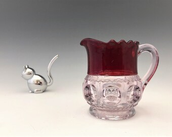 EAPG Creamer - Adams and Company X.L.C.R. (Excelsior) Pattern - AKA King's Crown - Early American Pattern Glass Cream Pitcher - Circa 1891