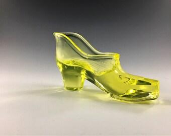 Vintage Vaseline Glass Shoe or Slipper - Glowing Glass Novelty Item - Glowing Ashtray