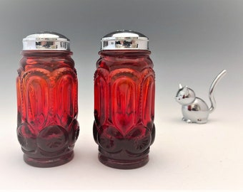 L.E. Smith Amberina Moon and Star Shakers - No. 4251 - Salt and Pepper Shakers