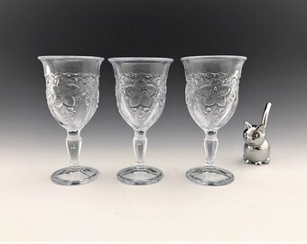 Set of 3 EAPG Wine Glasses - Indiana Glass No. 124 - Daisy and Button With Narcissus - Early American Pattern Glass (c. 1910)