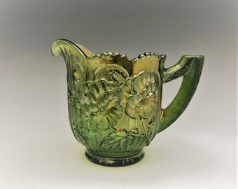 Imperial Glass Pansy Pattern - Carnival Glass Creamer - Green Carnival Glass Cream Pitcher