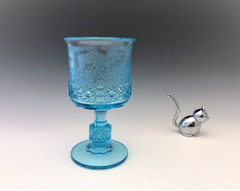 L.G. Wright Daisy and Cube Goblet With Forest Etch
