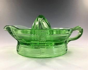 Hazel Atlas Orange Reamer (9840) - Crisscross Kitchenware - Green Depression Glass Juicer - Uranium Glass
