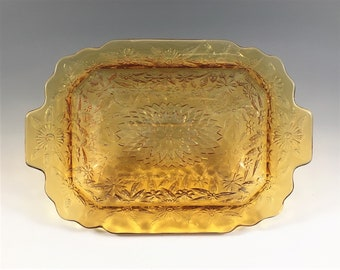 Indiana Glass Pineapple and Floral Amber Bowl - Oval Serving Bowl - Pattern 618 - Hard to Find