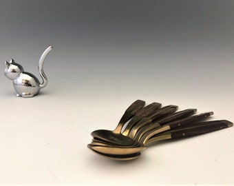 Set of 6 Brass and Wooden Spoons - Thailand Cutlery