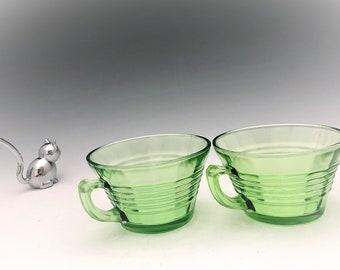 Hocking Glass Circle Pattern - Set of 2 Cups - Green Depression Glass - Glowing Uranium Glass