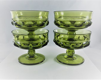 Indiana Glass King's Crown Sherbet or Champagne Cups - Green Thumbprint Glasses
