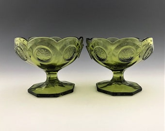 Set of 2 Fostoria Coin Olive Green Glass - Open Jam/Jelly Cup