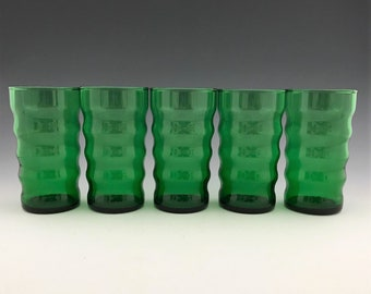 Set of 5 Anchor Hocking Whirly Twirly Tumblers - 9 Ounce Forest Green Flat Tumblers