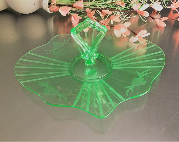 Featured listing image: Hard to Find Westmoreland Center Handled Server (1706-8) - Green Depression Glass - Uranium Glass