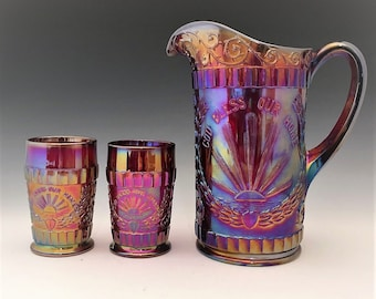 L.G. Wright God and Home Water Set - Ruby Carnival Glass - Made by Westmoreland - Pitcher and 6 Tumblers