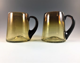 Set of 2 Vintage Amber Coffee Cups - Blown Amber Glass - Retro Cups or Mugs