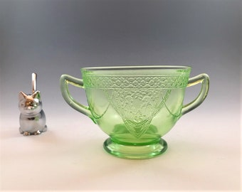 Uranium Glass Sugar Bowl - Federal Glass - Georgian Pattern - Love Birds - Green Depression Glass - Glowing Glass - c. 1931-36