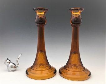 Diamond Glass #900 Adam's Rib Amber Candlesticks - Set of 2