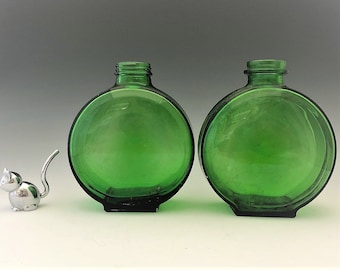 Set of Two Vintage Owens Illinois Deco Emerald Green Bottles - Sun Sweet Bottle