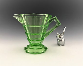 Indiana Glass Tea Room Creamer - Green Depression Glass - Uranium Glass Cream Pitcher - Glowing Green Glass