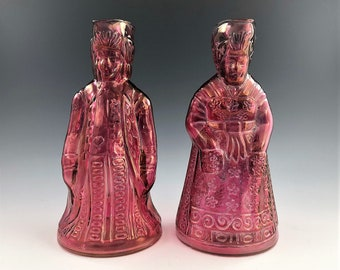 Set of Two Kanawha Cranberry Stained Toby Pitchers - Dutch Girl and Man Pitcher - No 2293 - Czechoslovakian Maid and Gentleman