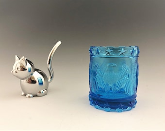 Kanawha Glass Toothpick Holder - Colonial Drum With Eagle - Azure Blue - Eagle Motif - Eagle and Stars - Drum Toothpick Holder