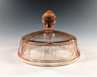 Pink Depression Glass Covered Butter Dish Lid - Jeannette Doric Pattern