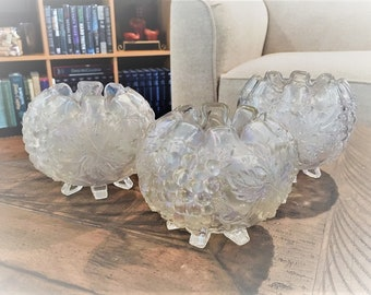 Collection of 3 Vintage Rose Bowls - Dugan Glass - Grape Delight - Classic White Carnival Glass
