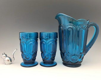 Weishar Moon and Star Colonial Blue Water Set - Full Size Pitcher and Six Tumblers - Hard to Find