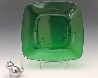 Anchor Hocking Charm Forest Green Dinner Plate - Emerald Green Mid Century Glass