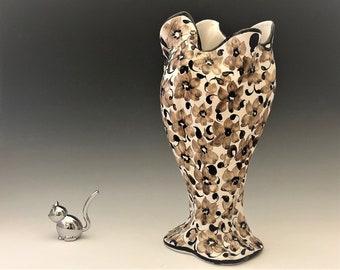 Ceramic Hand Painted Vase - Made in Portugal - Brown Flowered Vase