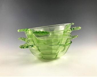 Set of 5 Hocking Glass Bowls - Glowing Uranium Glass Bowls - Green Depression Glass Sauce or Berry Bowls - AH105 Bowls