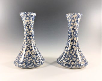Set of 2 Roseville Spongeware Candlestick Holders - Gerald R. Henn Workshop - Blue and White